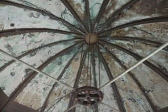 The domed roof of the lighthouse.