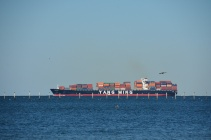 There were many container ships entering and leaving Chesapeake Bay.